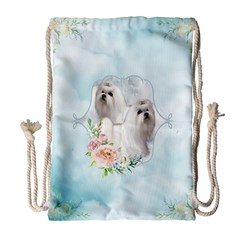 Cute Little Maltese With Flowers Drawstring Bag (large) by FantasyWorld7