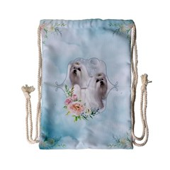 Cute Little Maltese With Flowers Drawstring Bag (small) by FantasyWorld7