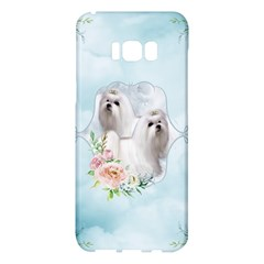 Cute Little Maltese With Flowers Samsung Galaxy S8 Plus Hardshell Case