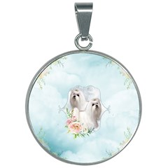 Cute Little Maltese With Flowers 30mm Round Necklace by FantasyWorld7