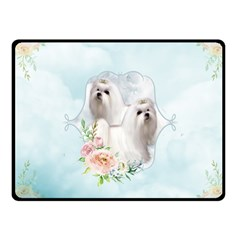 Cute Little Maltese With Flowers Fleece Blanket (small) by FantasyWorld7
