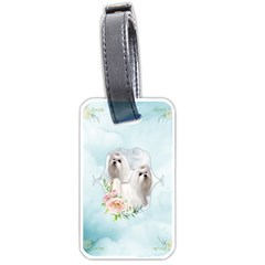Cute Little Maltese With Flowers Luggage Tags (two Sides) by FantasyWorld7