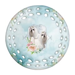 Cute Little Maltese With Flowers Ornament (round Filigree)
