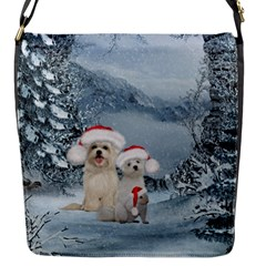 Christmas, Cute Dogs And Squirrel With Christmas Hat Flap Closure Messenger Bag (s)