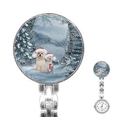Christmas, Cute Dogs And Squirrel With Christmas Hat Stainless Steel Nurses Watch by FantasyWorld7