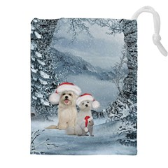 Christmas, Cute Dogs And Squirrel With Christmas Hat Drawstring Pouch (xxl) by FantasyWorld7