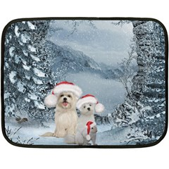 Christmas, Cute Dogs And Squirrel With Christmas Hat Double Sided Fleece Blanket (mini)  by FantasyWorld7