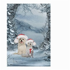 Christmas, Cute Dogs And Squirrel With Christmas Hat Small Garden Flag (two Sides) by FantasyWorld7