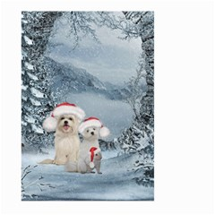 Christmas, Cute Dogs And Squirrel With Christmas Hat Large Garden Flag (two Sides) by FantasyWorld7