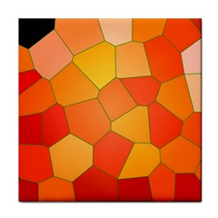 Background Pattern Orange Mosaic Tile Coasters by Mariart