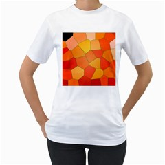 Background Pattern Orange Mosaic Women s T Shirt (white) (two Sided) by Mariart
