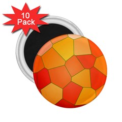 Background Pattern Orange Mosaic 2 25  Magnets (10 Pack)  by Mariart