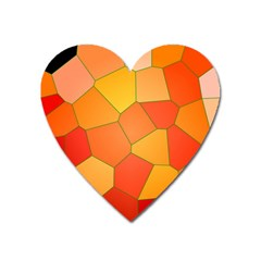 Background Pattern Orange Mosaic Heart Magnet by Mariart
