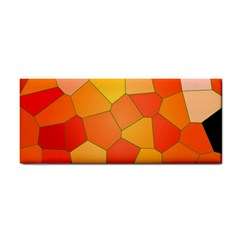 Background Pattern Orange Mosaic Hand Towel by Mariart