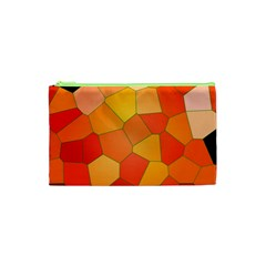 Background Pattern Orange Mosaic Cosmetic Bag (xs) by Mariart