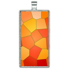 Background Pattern Orange Mosaic Rectangle Necklace by Mariart