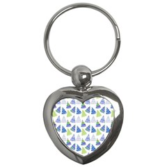 Christmas Pattern Background Key Chains (heart)  by Jojostore