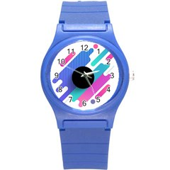 Cool Geometric Combination Of Decorative Circular Vector Background Round Plastic Sport Watch (s) by AnjaniArt