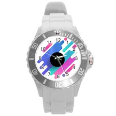 Cool Geometric Combination Of Decorative Circular Vector Background Round Plastic Sport Watch (l) by AnjaniArt