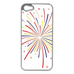 Graphic Fireworks Decorative Apple Iphone 5 Case (silver) by AnjaniArt