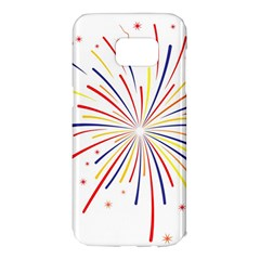 Graphic Fireworks Decorative Samsung Galaxy S7 Edge Hardshell Case by AnjaniArt