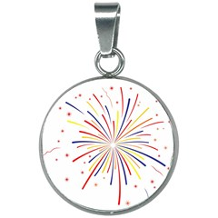 Graphic Fireworks Decorative 20mm Round Necklace by AnjaniArt