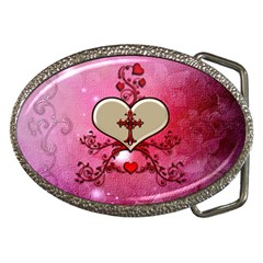 Wonderful Hearts With Floral Elements Belt Buckles