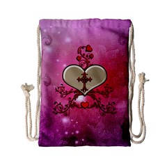 Wonderful Hearts With Floral Elements Drawstring Bag (small) by FantasyWorld7