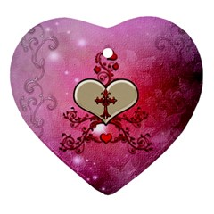 Wonderful Hearts With Floral Elements Ornament (heart)