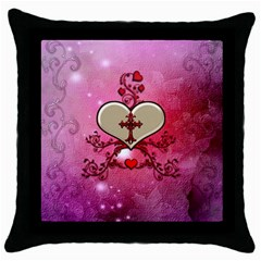 Wonderful Hearts With Floral Elements Throw Pillow Case (black) by FantasyWorld7