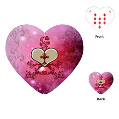Wonderful Hearts With Floral Elements Playing Cards (heart)