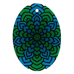 Green Blue Mandala Vector Oval Ornament (two Sides)