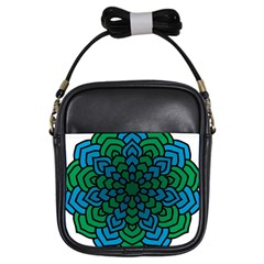 Green Blue Mandala Vector Girls Sling Bag by Alisyart