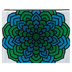 Green Blue Mandala Vector Cosmetic Bag (xxxl) by Alisyart