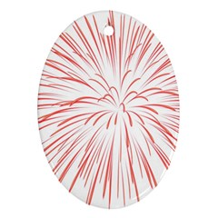 Red Firework Transparent Oval Ornament (two Sides) by Jojostore