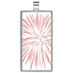 Red Firework Transparent Rectangle Necklace