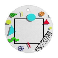 Abstract Geometric Triangle Dots Border Ornament (round)