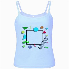 Abstract Geometric Triangle Dots Border Baby Blue Spaghetti Tank