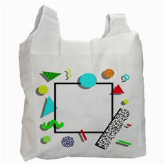 Abstract Geometric Triangle Dots Border Recycle Bag (one Side) by Alisyart