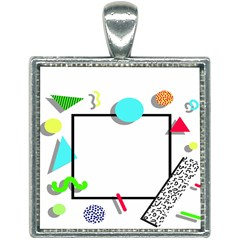 Abstract Geometric Triangle Dots Border Square Necklace