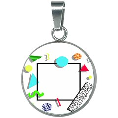 Abstract Geometric Triangle Dots Border 20mm Round Necklace