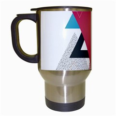 Geometric Line Patterns Travel Mugs (white) by Mariart