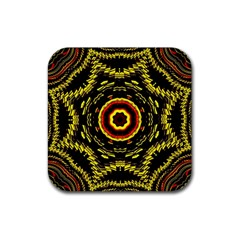 Mosaic Yellow Star Rubber Coaster (square)  by Jojostore