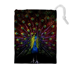 Beautiful Peacock Feather Drawstring Pouch (xl) by Bejoart