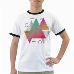 Pink Abstract Triangle Ringer T by Jojostore