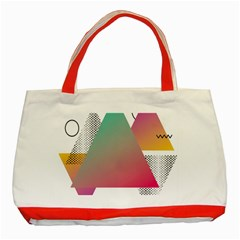 Pink Abstract Triangle Classic Tote Bag (red) by Jojostore