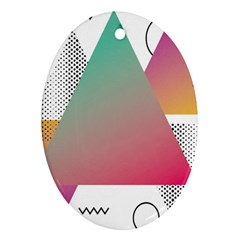 Pink Abstract Triangle Oval Ornament (two Sides) by Jojostore