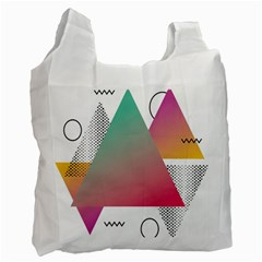 Pink Abstract Triangle Recycle Bag (one Side) by Jojostore
