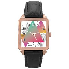 Pink Abstract Triangle Rose Gold Leather Watch