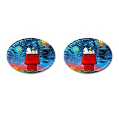 Dog Painting Stary Night Vincet Van Gogh Parody Cufflinks (oval)